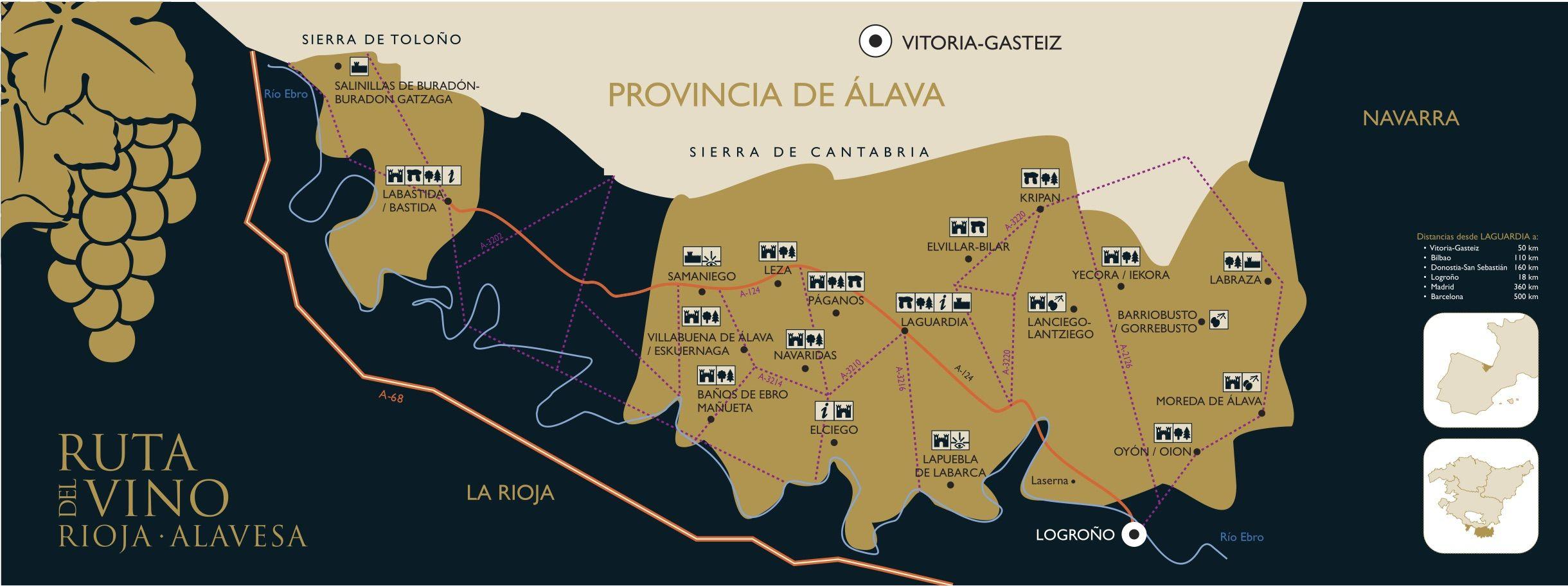 Mapa La ruta del vino